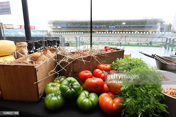 A selection of New Zealand food is displayed for tasting during the RWC 2011 One Year To Go celebrations at Eden Park on September 9 2010 in Auckland...