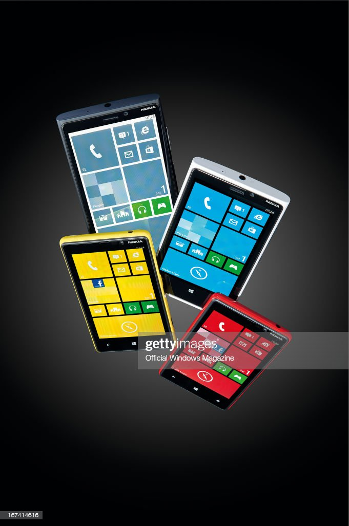 A selection of Nokia Lumia 920 and 820 smartphones photographed on black taken on September 24 2012