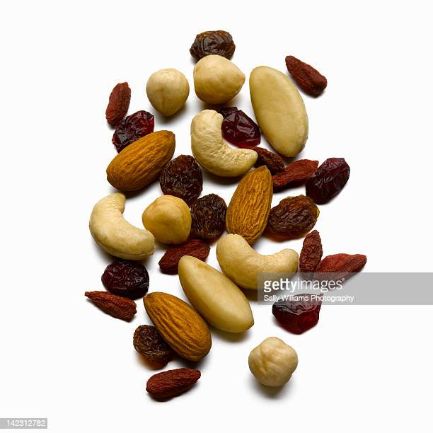 A selection of nuts and dried fruit.