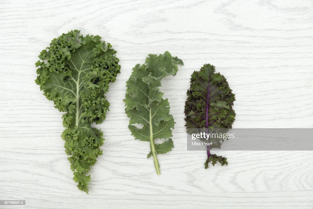Selection of organic kale leaves on table top : Stock Photo