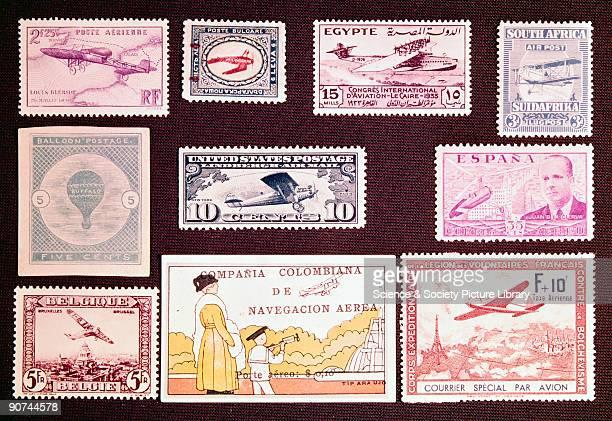 A selection of postage stamps from a variety of countries with an aviation theme The earliest airmail stamp was a 5c issued in 1877 by Samuel King...