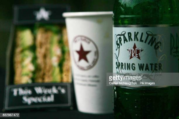 A selection of products from sandwich shop Pret A Manger