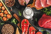 Healthy food background. Selection of protein sources: beef and pork meat, chicken  filet, salmon fish, egg, beans, nuts, milk. Top view copy space, dark background
