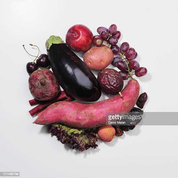A selection of purple fruits & vegetables.