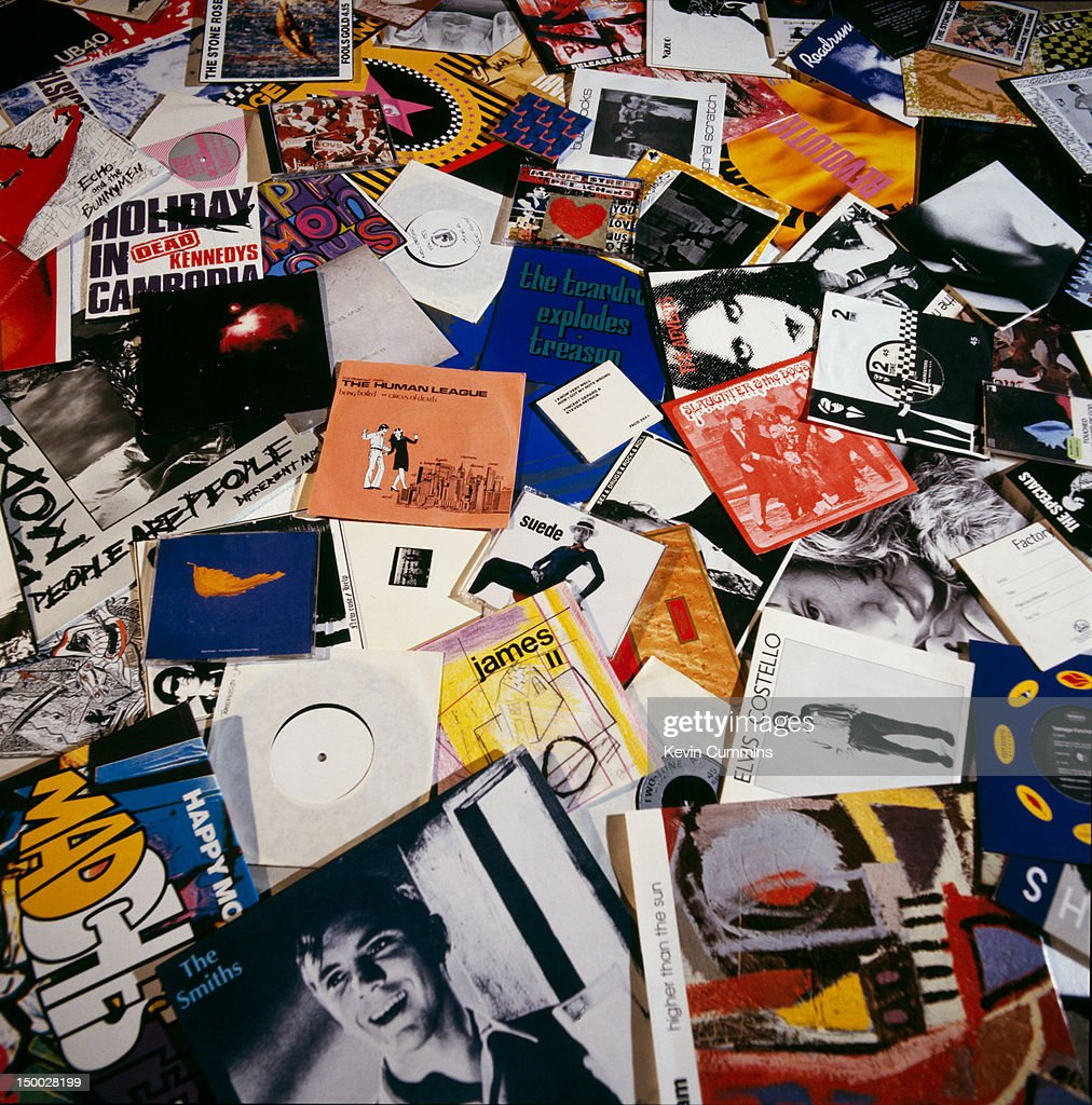 A selection of record covers, circa 1990. The records are mainly by 1980's bands, and include releases by The Smiths, The Birthday Party and The Happy Mondays.