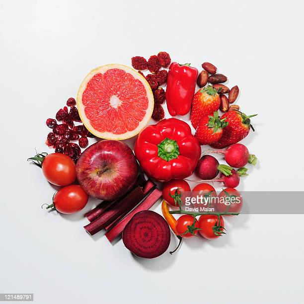 A selection of red fruits & vegetables.
