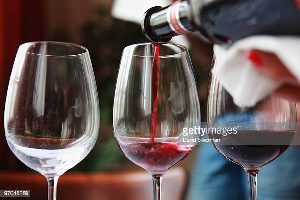 A selection of reds is prepared for a tasting panel as the Best Value wine competition gets underway on February 25 2010 in Tel Aviv Israel Wine has...