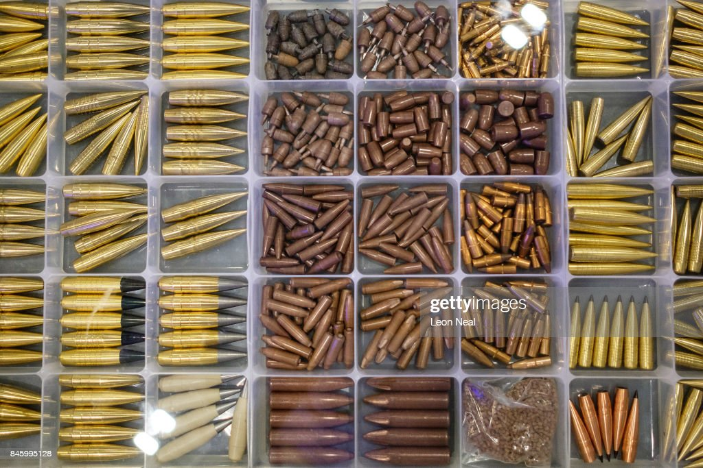 A selection of rounds of ammunition are displayed on the 'Sniper Extreme' display stand at the DSEI event at the ExCel centre on September 12, 2017 in London, England. The annual weapons and security trade fair sees manufacturers of all aspects of military, naval, airforce and security from all over the world display their latest designs to delegates.