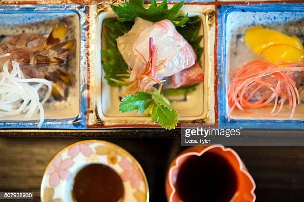 A selection of sashimi at Kichisen a simple wooden restaurant next to the Shimogamojinja shrine one of Kyotos best known kaiseki restaurants Its...