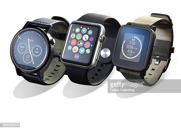 A selection of smartwatches including a Motorola Moto 360 Apple Watch and Pebble Time Steel taken on September 28 2015