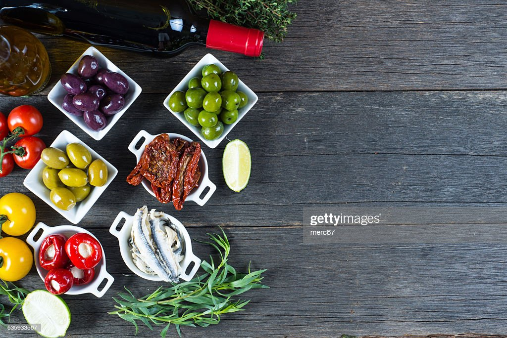 selection of spanish tapas with red wine from above : Stock Photo