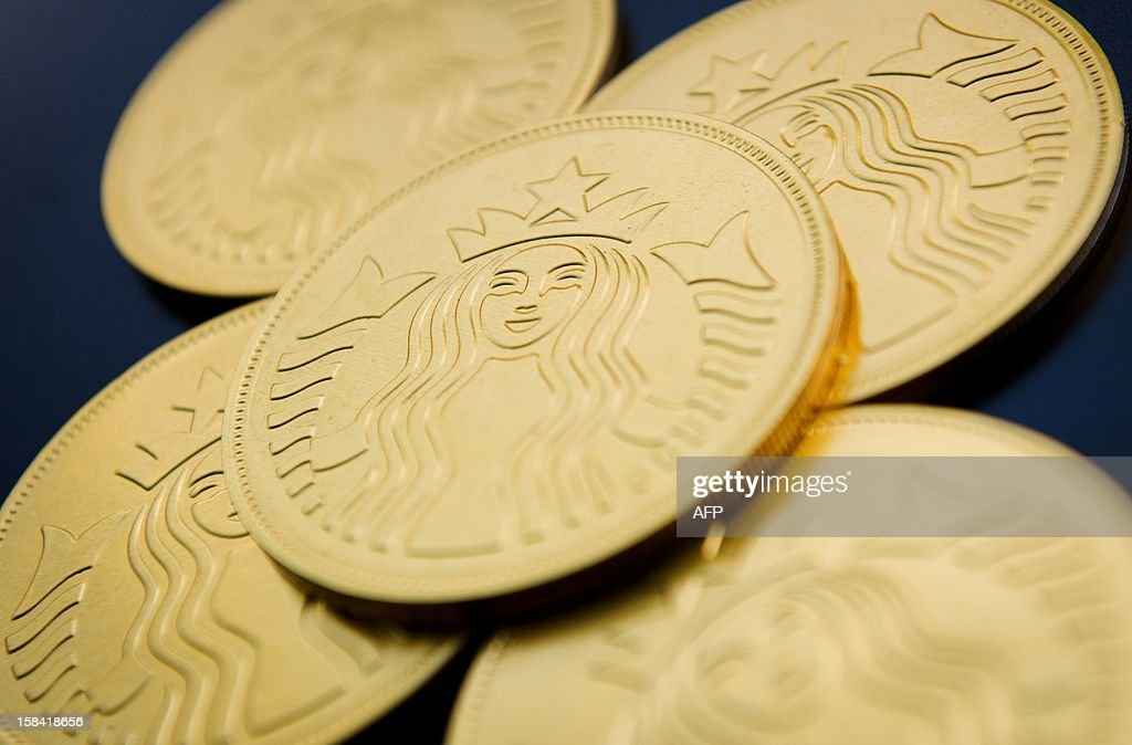 A selection of Starbucks chocolate 'gold coins' are shown displayed at a branch of the international coffee chain in central London on December 16, 2012.