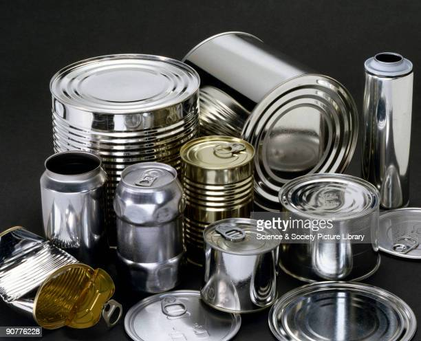 A selection of steel cans coated with tin supplied by Corus to the Science Museum London to be shown as part of a tinplate recycling gallery display...