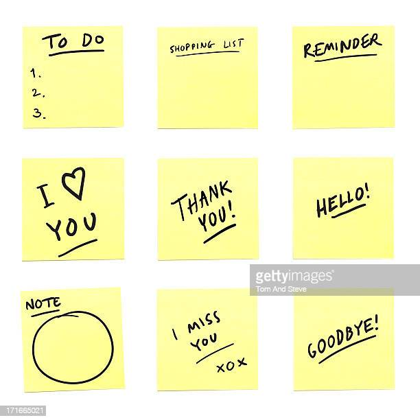 A selection of sticky memo message notes