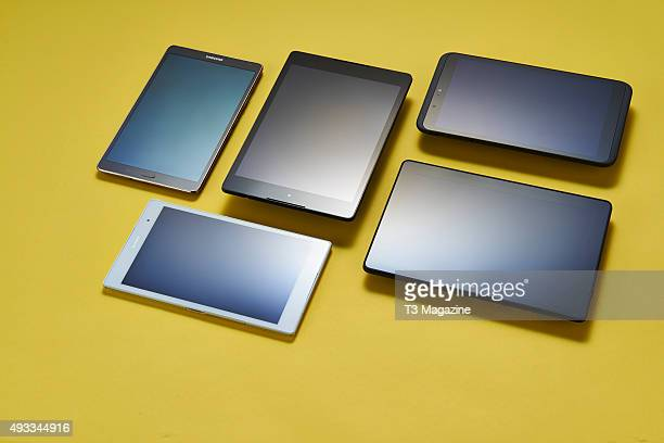 A selection of tablet devices including Samsung Galaxy Tab S 84 Google Nexus 9 Tesco Hudl 2 Amazon Kindle Fire HDX 89 and a Sony Xperia Z3 Compact...