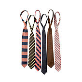Selection of ties on white background, front view.