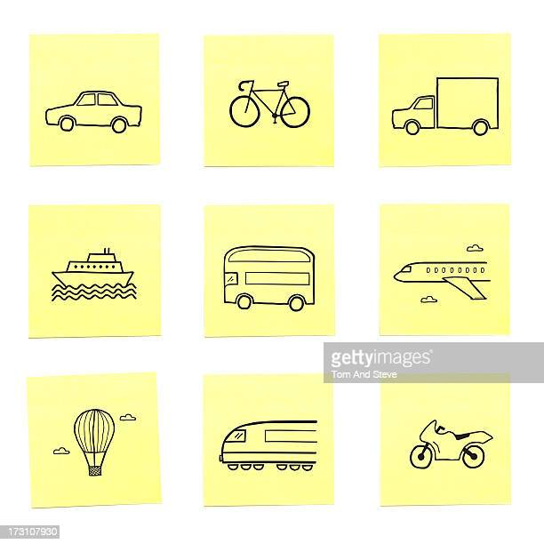 A selection of travel related sticky memo notes