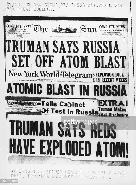 A selection of US newspaper headlines on President Truman's announcement that Soviet Union had conducted its first nuclear weapon test 24th September...