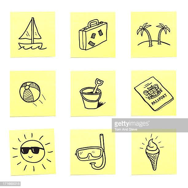 A selection of vacation sticky memo notes