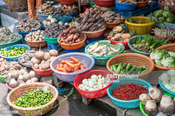 Selection Of Vegetables At A Street Market In HCMC, Vietnam
