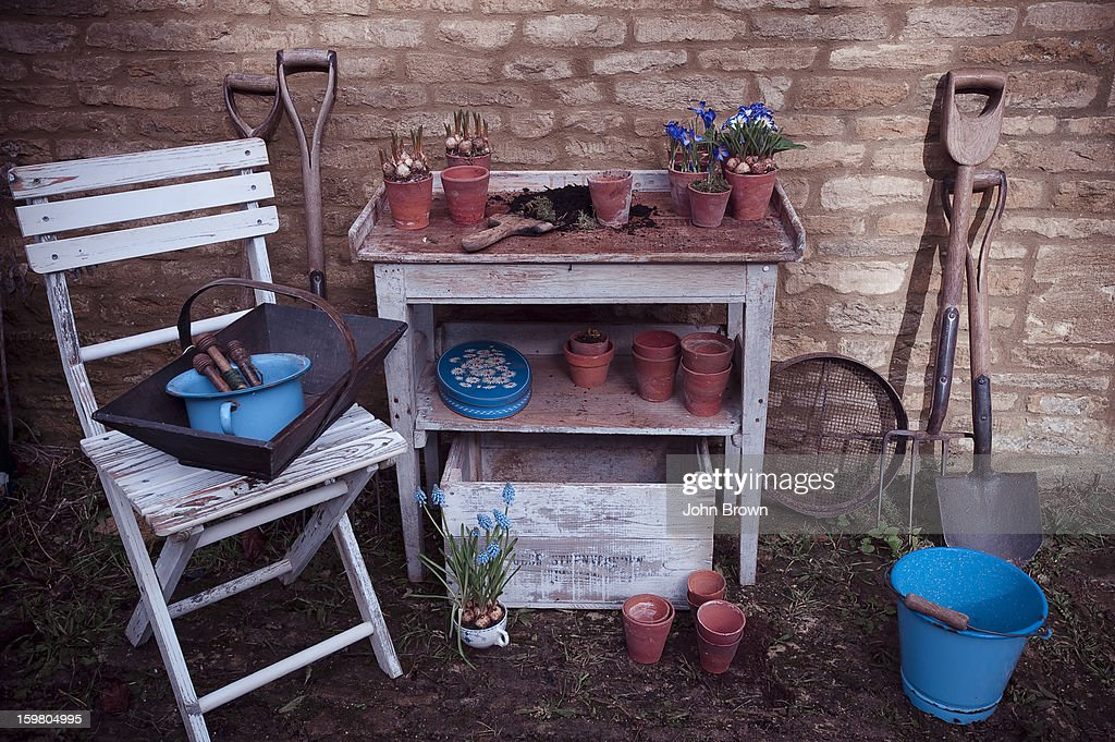 Selection of vintage garden equipment in spring : Stock Photo