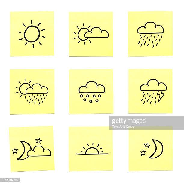 A selection of weather related sticky memo notes