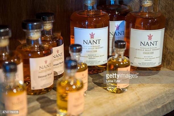 BOTHWELL TASMANIA AUSTRALIA A selection of whisky bottles for sale at Nant a craft whisky distillery at Bothwell in Tasmania's midlands Having the...