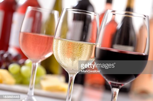 Selection of wines in glasses for wine tasting