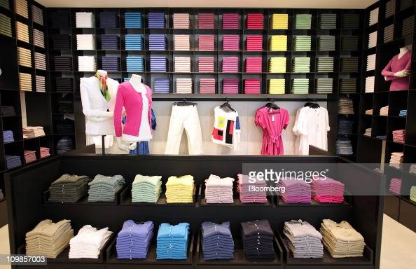 A selection of women's garments including jumpers sit on display at the United Colours Of Benetton store in Oxford Circus London UK on Tuesday March...
