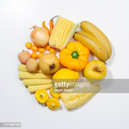 A selection of yellow fruits & vegetables. : Stock Photo