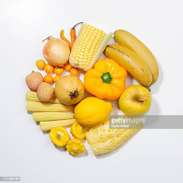 A selection of yellow fruits & vegetables.