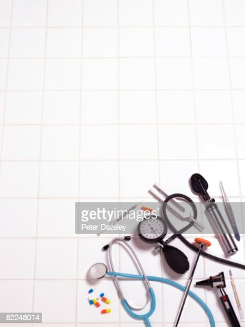 Selection on medical equipment on white background : Stock Photo