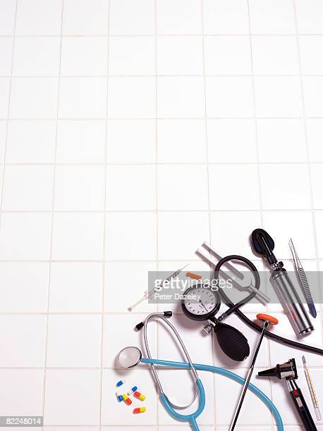 Selection on medical equipment on white background