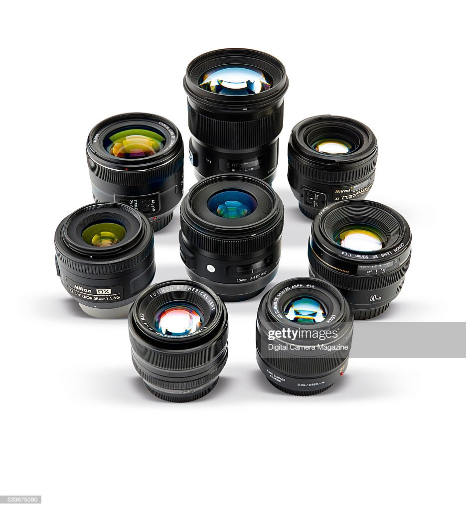 A selection standard prime lenses including Canon Nikon Sigma Panasonic and Fujifilm brands taken on August 13 2015