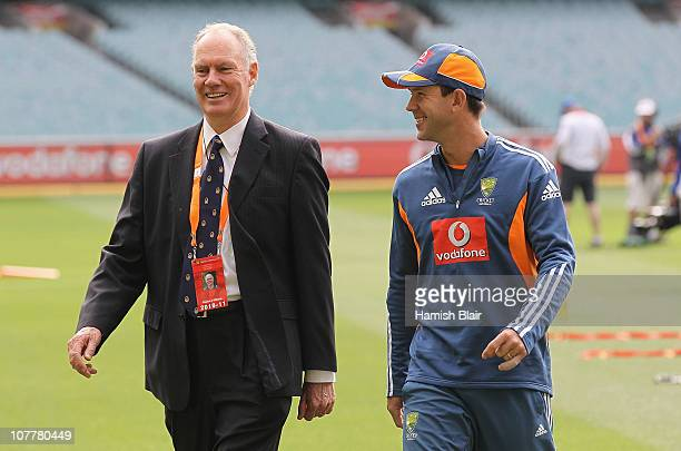 Selector Greg Chappell speaks with Ricky Ponting of Australia ahead of day one of the Fourth Test match between Australia and England at the...