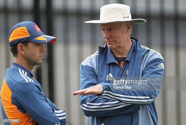 Selector Greg Chappell speaks with Ricky Ponting of Australia during an Australian training session at the Melbourne Cricket Ground on December 25...