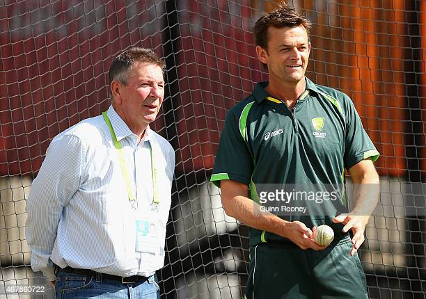 Selector Rod Marsh and Adam Gilchrist watch on during an Australian nets session at Melbourne Cricket Ground on March 28 2015 in Melbourne Australia