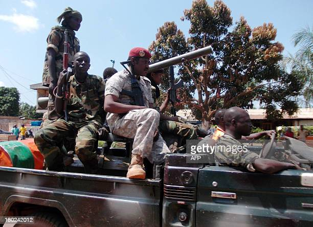 Seleka soldiers from the ruling rebel coalition leave the capital Bangui on September 10 2013 to reinforce troops in the western city of Bossangoa in...