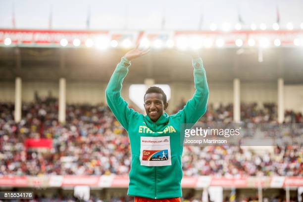 Selemon Berega of Ethiopia celebrates in the boys 3000m medal ceremony during day 5 of the IAAF U18 World Championships at Moi International Sports...