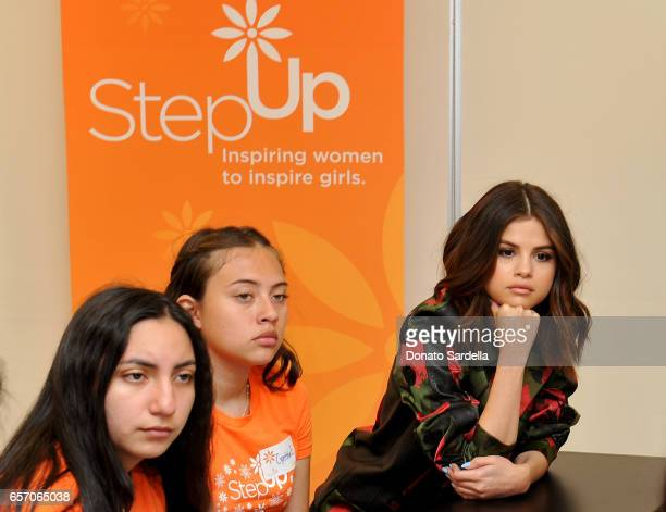 Selena Gomez and Coach Surprise Step Up Teens at High Schools on March 23 2017 in Los Angeles California