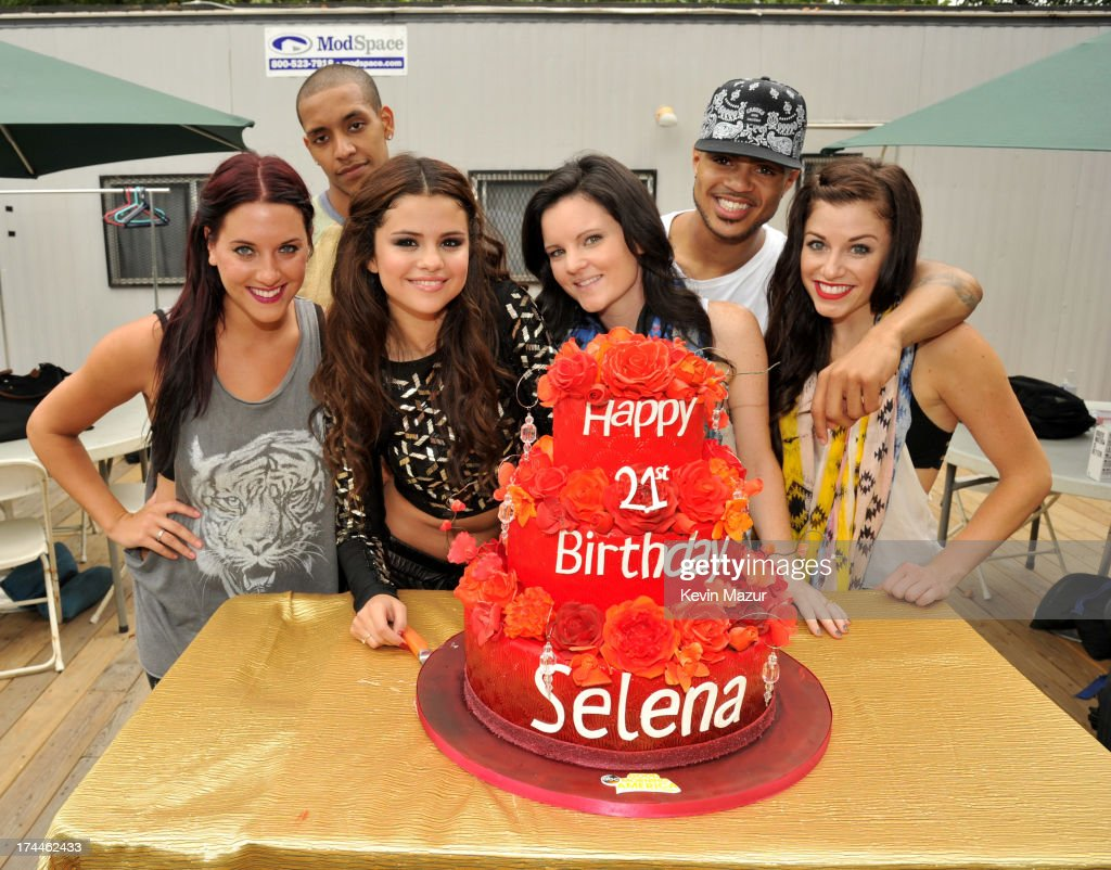 <a gi-track='captionPersonalityLinkClicked' href=/galleries/search?phrase=Selena+Gomez&family=editorial&specificpeople=4295969 ng-click='$event.stopPropagation()'>Selena Gomez</a> and her dancers backstage after her performance on ABC's 'Good Morning America' at Rumsey Playfield on July 26, 2013 in New York City.
