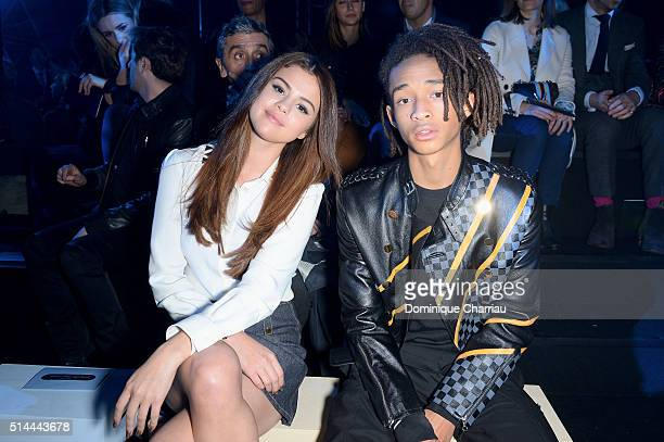 Selena Gomez and Jaden Smith attend the Louis Vuitton show as part of the Paris Fashion Week Womenswear Fall/Winter 2016/2017 on March 9 2016 in...