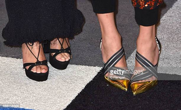Selena Gomez and Taylor Swift shoe detail arrive to the 2015 MTV Video Music Awards at Microsoft Theater on August 30 2015 in Los Angeles California