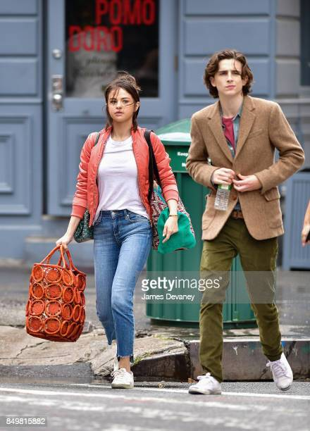Selena Gomez and Timothe Chalamet seen on location for Woody Allen's untitled movie on September 19 2017 in New York City