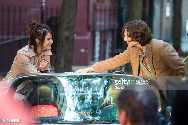 Selena Gomez and Timothee Chalamet are seen filming a Woody Allen filmin the West Village on September 11 2017 in New York City