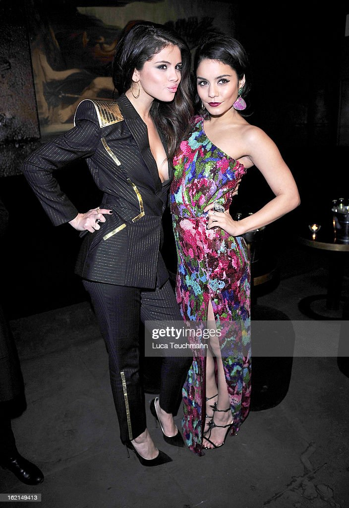 Selena Gomez and Vanessa Hudgens attend the premiere of 'Spring Breakers' at Sony Center on February 19, 2013 in Berlin, Germany.