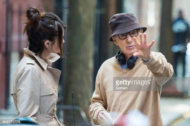 Selena Gomez and Woody Allen are seen filming a Woody Allen film in the West Village on September 11 2017 in New York City