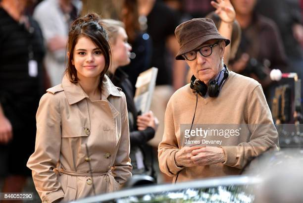 Selena Gomez and Woody Allen seen on location for his untitled movie on September 11 2017 in New York City