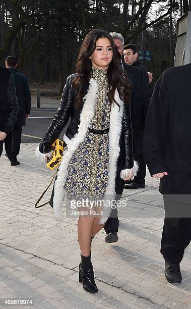 Selena Gomez arrive at the Louis Vuitton show as part of Paris Fashion Week Fall Winter 2015/2016 on March 11 2015 in Paris France