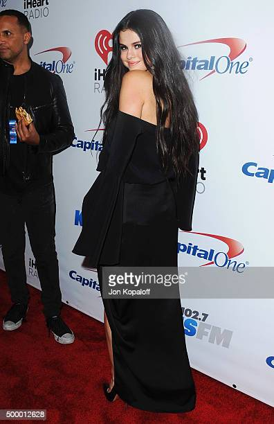 Selena Gomez arrives at 1027 KIIS FM's Jingle Ball at Staples Center on December 4 2015 in Los Angeles California